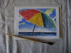 Grußkarte  Sammlerkarte  Sonnenschirm  von ArtRuthTrinczek auf Etsy