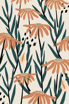 Brown daisy patterned beige background pattern art design f