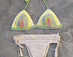 Crochet el bikiní en traje de baño de Crochet menta por MarryG