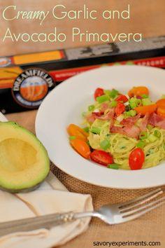 Creamy Garlic and Avocado Primavera Recipe - ditch the calories, keep the taste with a creamy avocado and garlic sauce!