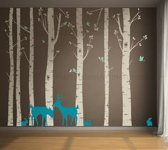 Birch Tree Wall Decal Birch Trees Birch Forest by InAnInstantArt