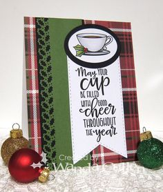 Handmade card by Wanda Cullen using the Cup of Kindness digital set from Verve. #vervestamps
