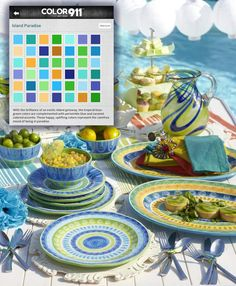 Entertaining this summer? Choose a color theme from the Color911 app and shop for colors to match! These place setting colors are a perfect match for the Island Paradise theme! Photo from Pier 1.
