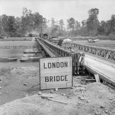 Transport crossing into the Orne bridgehead across 'London Bridge' during Operation 'Goodwood', 18 July 1944.