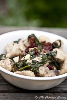 coconut chicken with almonds and cranberries.