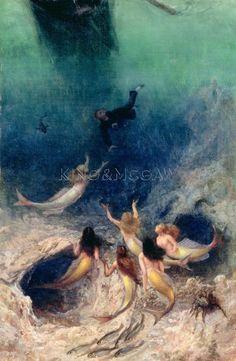 Vintage Mermaid Canvas Print - A Sailor S Delight by William Holbrook Beard Siren Mermaid, Sea Siren, Mermaid Fairy, Mermaid Tale, Fantasy Mermaids, Mermaids And Mermen, Mythical Creatures, Sea Creatures, Ange Demon