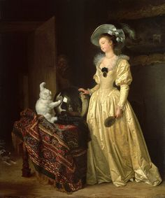 Le Chat Angora - The Angora Cat   oil painting   Marguerite Gérard  &  Jean-Honoré Fragonard  ---------------------------------------------------   The two artists at work are seen reflected in the glass globe.