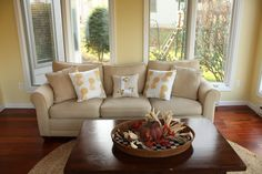 Initial pillow in sun room - so cozy