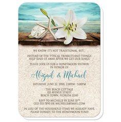 Lily Seashells Sand Beach Honeymoon Shower Invitations at Artistically Invited