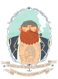 sailor puff waves.gif, illustration, animation, drawing, banner, vintage style, tattoo, sailor