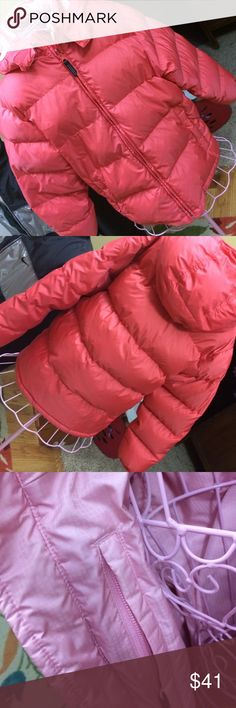 Lands End jacket Down filled reversible jacket. Zip front with removable hood. Coral on one side and light pink on the other Lands' End Jackets & Coats