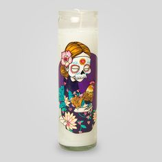 Day of the Dead Candle in White by Sam Flores