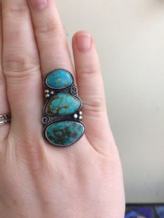A personal favorite from my Etsy shop https://www.etsy.com/listing/504032912/multi-turquoise-boho-gypsy-silver-ring