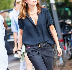 Short-Sleeve Crepe Blouse + Black Skinny Jeans. Shows that you can wear black in summer. Add a colorfully clutch to brighten this up.