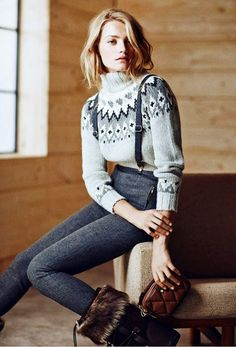 Cozy fair isle knit, wool pants and furry boots // via Massimo Dutti