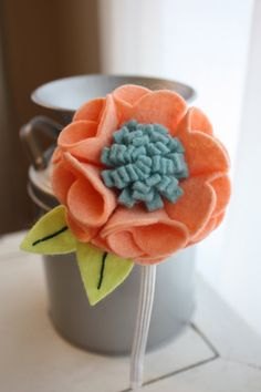 Felt Flower Headband - Peach Coral and Teal - Handmade with Wool Blend Felt - 5mm Metal Headband or Elastic sized for Baby, Toddler or Adult