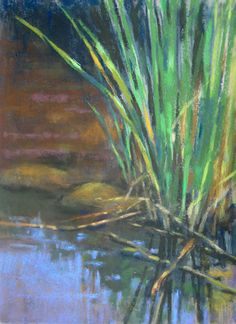 Slough Reeds plein air pastel painting of wetland in Six Mile Cypress Slough near Fort Myers, Florida by Jill Stefani Wagner