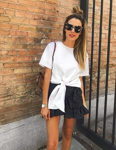 My Daily Style: White Front Tie T-Shirt w/ Polka Dot Ruffled Skirt