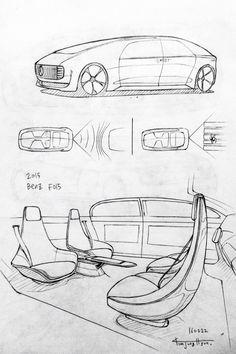 Car drawing 160222.  2015 Benz F015.  Prisma on paper.  Kim.J.H