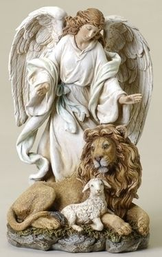 Angel With Lion And Lamb Spiritual Peaceful Figure. An uplifting spiritual gift, this angel figure conveys an enlightening peacefulness accentuated with lion and lamb. Made of Resin/Stone Mix Measures Joseph Studio-Renaissance Collection Guardian Angels, Engel Tattoos, Lion And Lamb, Angel Tattoo Designs, I Believe In Angels, Lion Of Judah, Angels Among Us, Angel Statues, Cherub