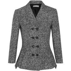 Michael Kors Collection - Wool-tweed Peplum Jacket (3.052.355 COP) ❤ liked on Polyvore featuring outerwear, jackets, black, michael kors jackets, wool tweed jacket, tweed peplum jacket, double breasted jacket and michael kors