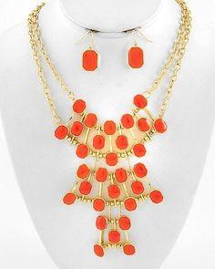 $ only! Papaya Orange Acrylic Gold Design ib Chain Jewelry Necklace Earrings Set