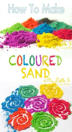 DIY COLOURED SAND - It& easy and fun to make vibrant coloured sand for all your sand art projects, sand play and Rangoli art. DIY COLOURED SAND - Its easy and fun to make vibrant coloured sand for all your sand art projects, sand play and Rangoli art. Sand Play, Sand Art For Kids, Projects For Kids, Crafts For Kids, Arts And Crafts, Kids Diy, Easy Art Projects, Sand Crafts, Infant Activities