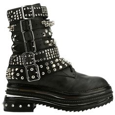 Pre-owned Jeffrey Campbell Studded Wyman Combat Black Boots ($231) ❤ liked on Polyvore featuring shoes, boots, black, black lace up boots, combat booties, leather combat boots, military combat boots and platform combat boots