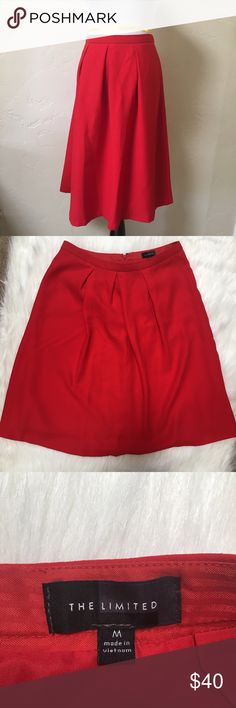 """The Limited Red, A-Line Pleated Skirt, size M Worn a twice and in excellent used condition. While laying flat, it measures approximately: 15"""" across, 24.75"""" length. Hidden zipper and hook and eye closure. The Limited Skirts A-Line or Full"""