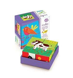 Djeco 4 Wooden Cubes Puzzle - Coloured Farm