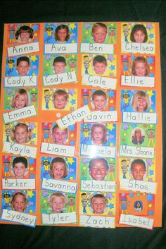 ame Chart - This is probably one of the most frequently used items in my classroom. I make it using the Lakeshore Photo Nameplates. I cut off the lines on the bottom. I mount the photos on large tagboard. I laminate the board and the names. The names on the lines are then attached with velcro dots. The kids use it all of the time when they want to write their friend. {put in the writing center}