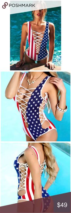 List! American Flag Macrame Maillot! NEW! Perfect for summer! This one piece has adjustable lace up sides, front and back! XL but runs small - best suited for a M/L depending on how you wish to wear it!  best measurements coming soon! New from package. Boutique Swim One Pieces