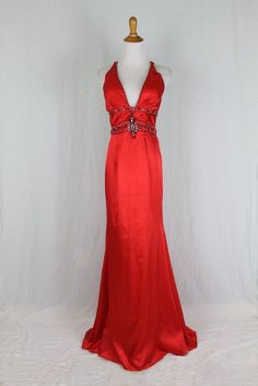 Tony Bowles Red Silk Jewel Beaded Cage Back Prom Pageant Gown 1930's Starlet 4 #TonyBowls #BallGownMaxiSheathWigglePencil #Formal