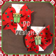 Red and green polka dot gift box bows