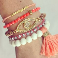 Coral Crush Boho Bracelet Stack- Arm Candy Stacked Bracelets in Peach, Coral and White