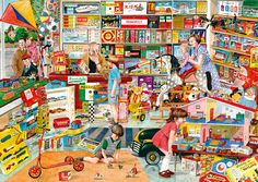 Best Shop in Town by Tracy Hall - Ah! the clutter & colour of a 50/60's toy shop in Britain. Tracy captures it perfectly.