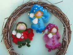 Needle felted Christmas fairy ornament Waldorf inspired