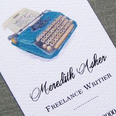 Nice business card for a freelance writer.
