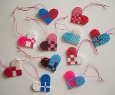 I Heart It Danglers made from Perler Hama Beads. Design from it's a heart heart season Hama Beads Design, Hama Beads Patterns, Beading Patterns, Christmas Paper Crafts, Valentine Crafts, Valentines, Christmas Ideas, Pearler Beads, Fuse Beads
