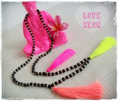 Neon tassel necklace  Black and clear beads with by Brightnewpenny, $26.50