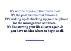 Doesn't matter if you were the one to initiate the break up or not. It doesn't matter if it was a long time coming or abrupt... This is so true. When you get used to something and suddenly it's not longer there.. That's the hardest part. Inspirational Breakup Quotes, Love Breakup Quotes, Motivational Break Up Quotes, Daily Quotes, Sad Quotes, Quotes To Live By, Breakup Advice, Life Quotes, Inspiring Quotes