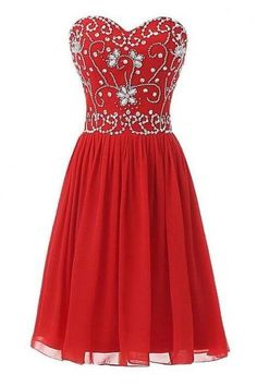 Cute Short Chiffon Red Sweetheart Beaded Homecoming Dresses 2017, Red Short Prom Dresses, Red Party Dresses