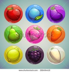 Set of colorful bubbles with fruits and vegetables icons, game assets - stock vector