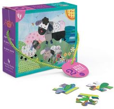 Two fun puzzles based on the popular singalong Over in the Meadow, with 12 and 24 pieces to provide a range of difficulty. The larger 12 piece puzzle shows a mother sheep and her two lambs frolicking in the field, while the 24 piece puzzle shows a mother robin singing to her three babies.