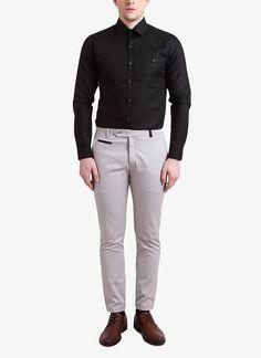 Black Solid Slim Fit Shirt by Alvin Kelly Dapper Suits, Mens Suits, Indian Men Fashion, Mens Fashion, Indian Menswear, Grey Chinos, Designer Suits For Men, Men's Fashion Brands, China