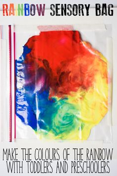 Sensory bag for exploring the colours of the rainbow and colour mixing with toddlers and preschoolers. A simple mess-free idea for learning. Color Activities For Toddlers, Rainbow Activities, Preschool Colors, Rainbow Crafts, Sensory Activities, Preschool Activities, Colour Activities, Spring Activities, Toddler Classroom