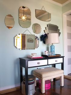Entryway with vintage mirror collection. I love old mirrors and have a simlar display in my upper hallway. Mirror Stairs, Entryway Mirror, Mirror House, Mirror Mirror, Old Mirrors, Vintage Mirrors, Venetian Mirrors, Etched Mirror, Beveled Mirror