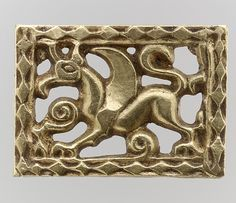 Gold Openwork Belt Mount  Date:700s Culture:Avar Medium:Gold-The treasure contains an array of belt fittings, some elaborately decorated, some unfinished or defectively cast. Some show no signs of use, while others are quite worn.<br/><br/>The Avars<br/>The Avars were a nomadic tribe of mounted warriors from the Eurasian steppe