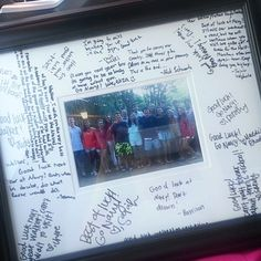 Need a simple going away gift? Write notes on a wide frame matting, pop a small group photo in! Find frames at Michael's.