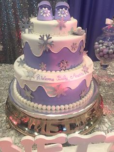 Purple snowflake winter wonderland baby shower cake - Jan Baby Shower - Baby Tips Winter Wonderland Hyde Park, Winter Wonderland Cake, Snowflake Baby Shower, Christmas Baby Shower, Baby Shower Winter, Baby Shower Cakes, Baby Shower Parties, Baby Shower Themes, Shower Ideas